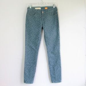 Anthropologie Pilcro teal flocked leopard jeans